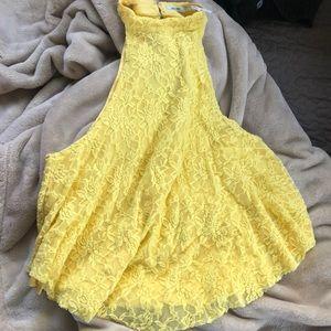Yellow lace tank